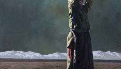 覃日群油画人物作品《雪域湖边》