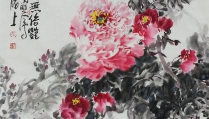 张双凤国画花鸟作品《春花富贵》