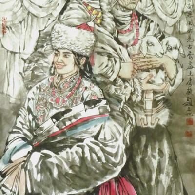 李毅国画人物作品《高原人家》