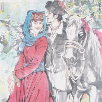 李毅国画人物作品《帕米尔风情》