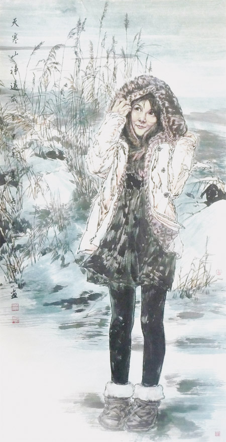 刘艺靑国画人物作品《天寒山净远》