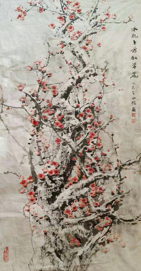 梅花竞相吐蕊,争相怒放,千花万蕊于瑞雪中暗香浮动.