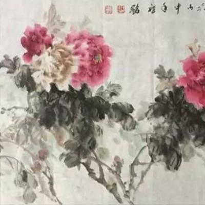 王祖铭国画牡丹作品