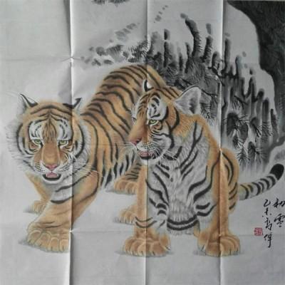 高伟国画老虎精品斗方