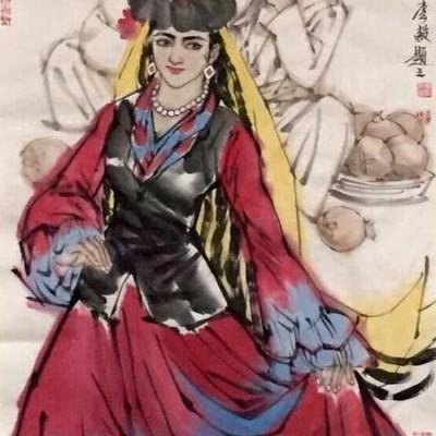 李毅国画人物作品