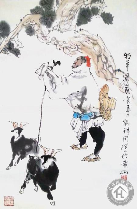 刘祥成国画作品《牧羊图》