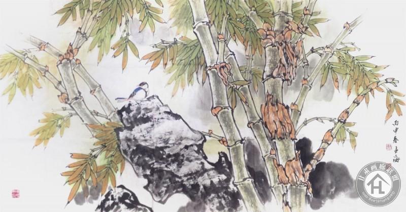 徐孟海四尺整张横幅花鸟画