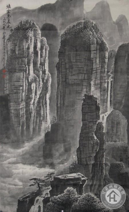 邹建源张家界山水系列作品 张家界晨光(59cm×97cm)