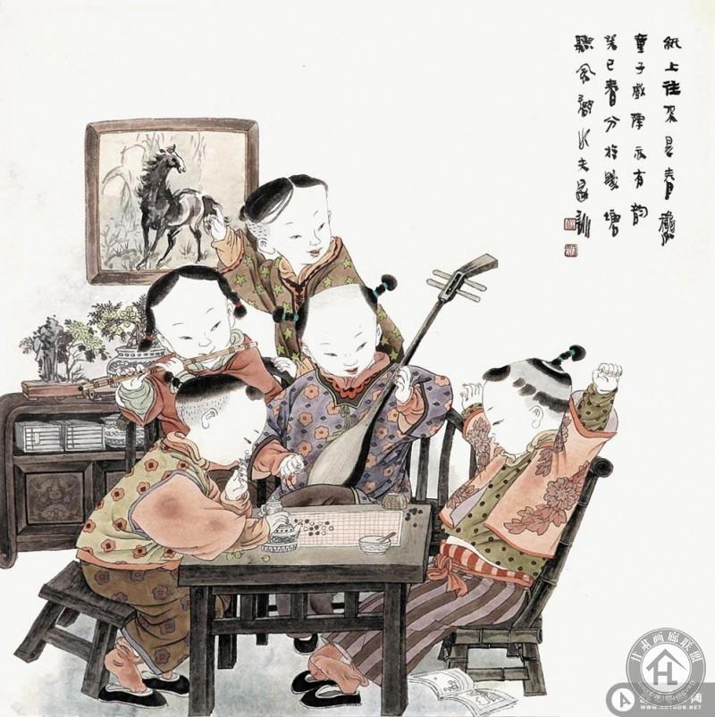 王家训工笔作品 纸上往来是春秋 童子戏阵亦
