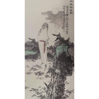 宣兵作品 《板桥诗意图》 四尺竖幅
