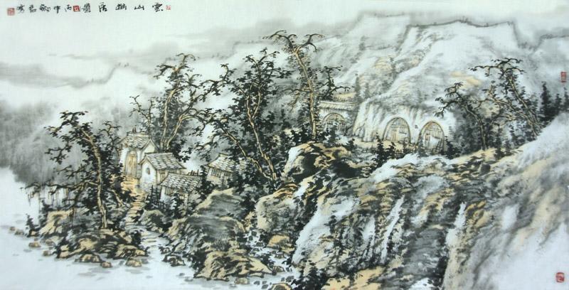 《云山幽居图》杜剑君136x68cm