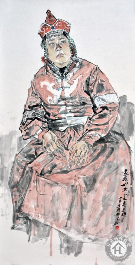 蒙古族妇女写生68×136cm-焦亚新作于2015年
