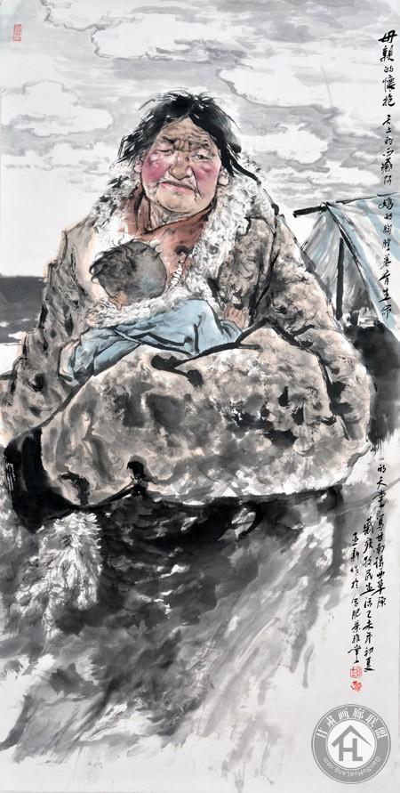 母亲的怀抱68×136cm-焦亚新作于2015年