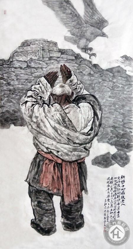 祈祷的藏族老人90×180cm-焦亚新作于2014年