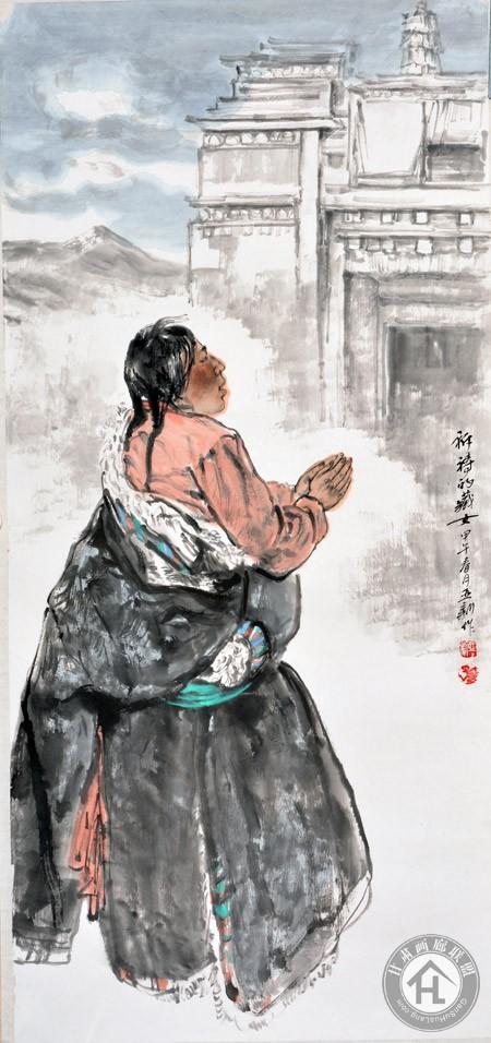 祈祷的藏族女子60×90cm-焦亚新作于2013年