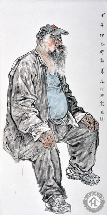 水墨人物写生68×136cm-焦亚新作于2014年