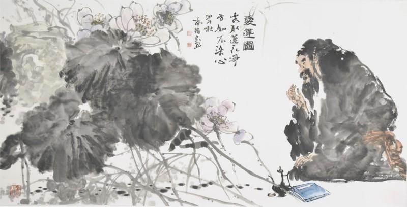 杨循作品《爱莲图》69x138cm