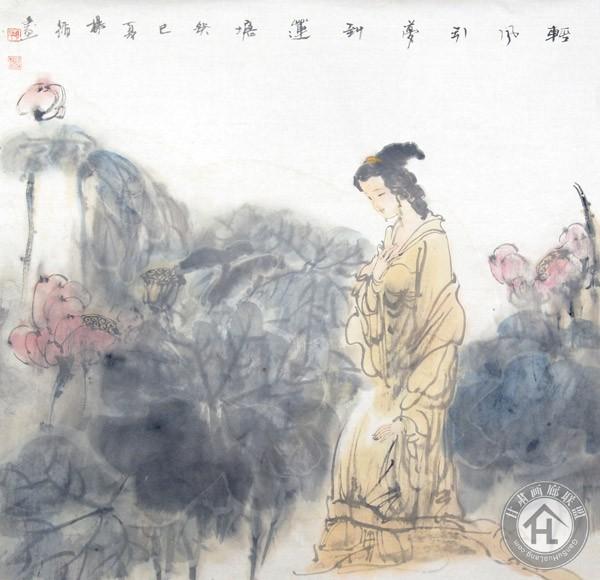 杨循作品《轻风引梦到莲塘》