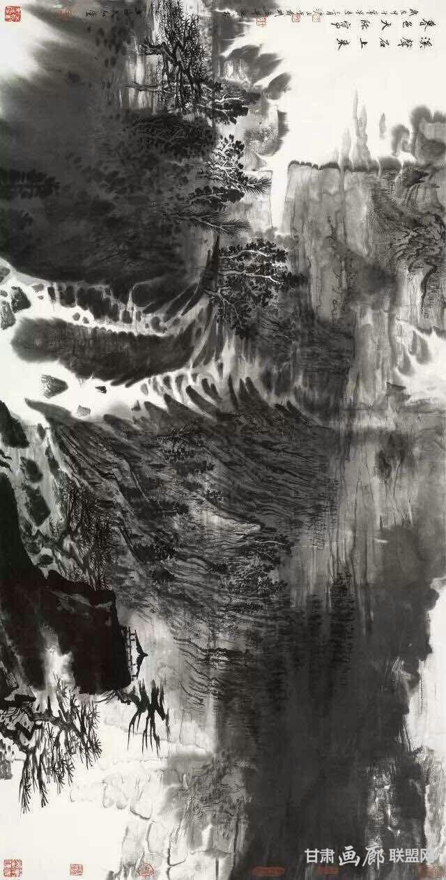 《溪声石上来 暮色天际写》69x138cm 2014