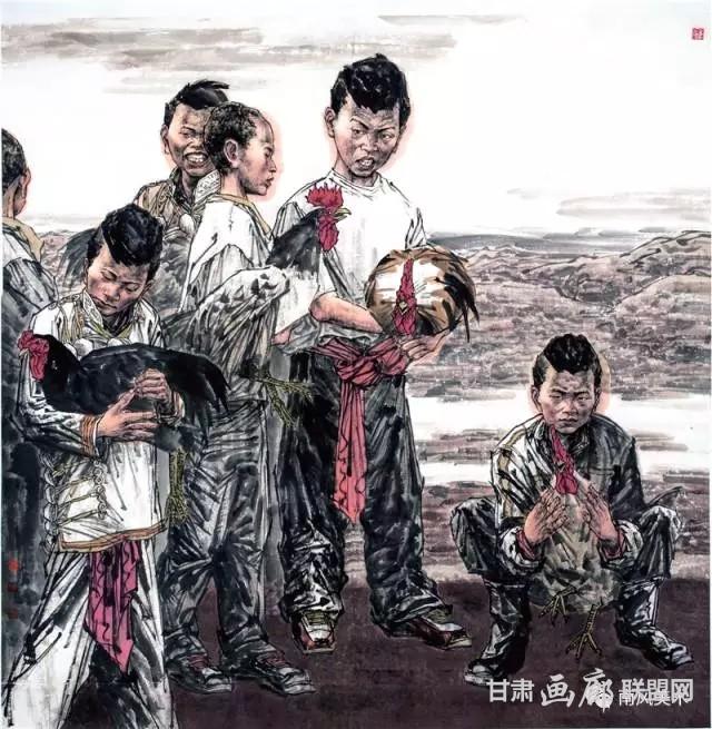 李夏青 梁山后生 190cm×190cm 2014 年.webp