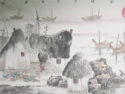 陈儒义《海岛渔村之霞光水影》