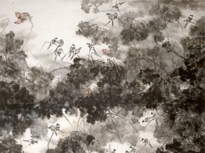 李辉作品《晨雀闹秋》艺术特色