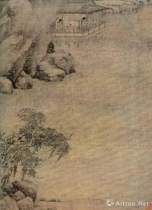 亭后山势陡峭,巨石嶙峋,往左上延伸。亭左一瀑布注入溪水。蜿蜒山径将前景引至远方雾气弥漫的河谷,雁阵掠空。