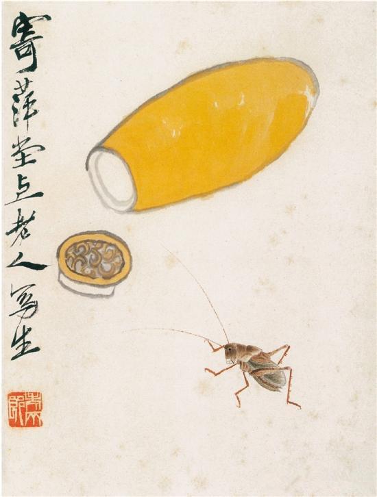 齐白石 葫芦蝈蝈 中国美术馆藏