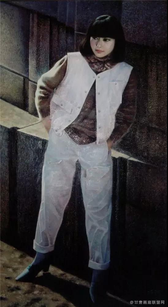 油画《城市森林·墙·女孩》178×97cm