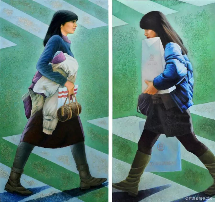 油画《斑马线·女孩》172×90cm×2
