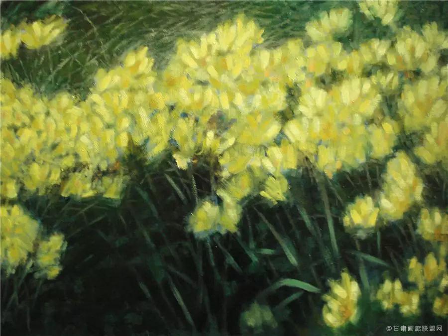 油画《花丛》73×54cm