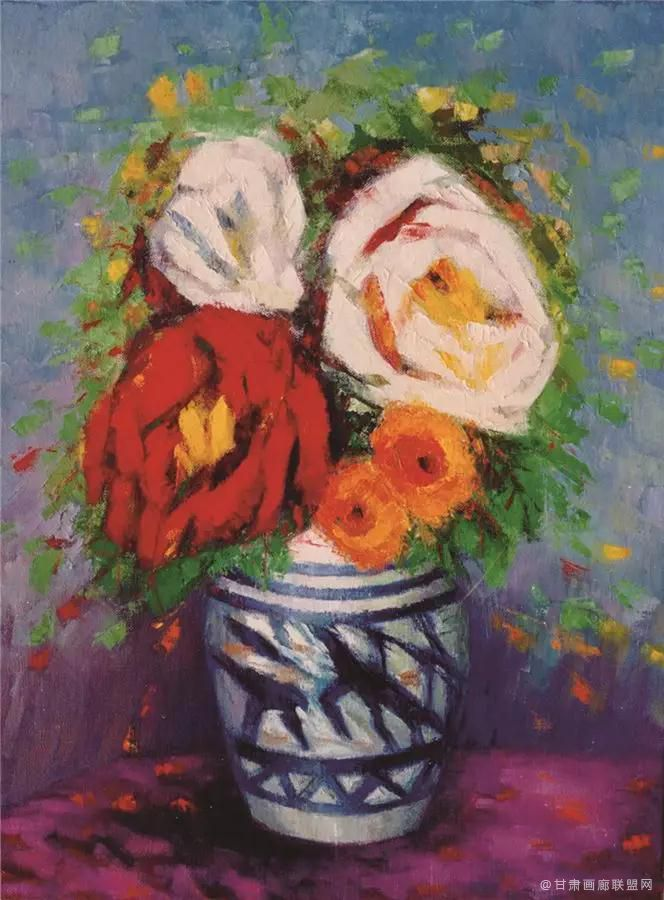 油画《青瓷玫瑰》73×54cm