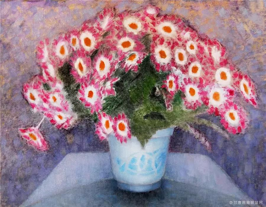 油画《紫菊》65×55cm