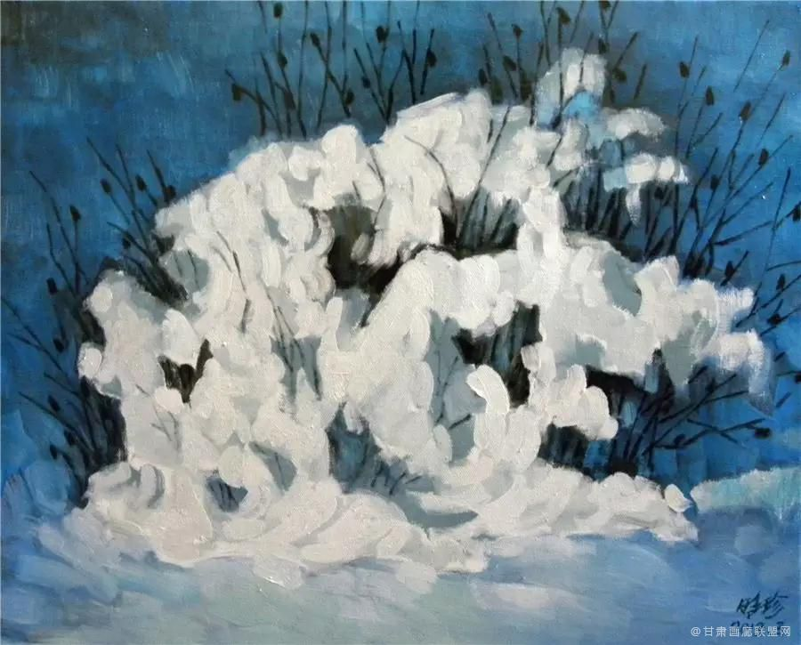 油画《雪绒花》50×40cm