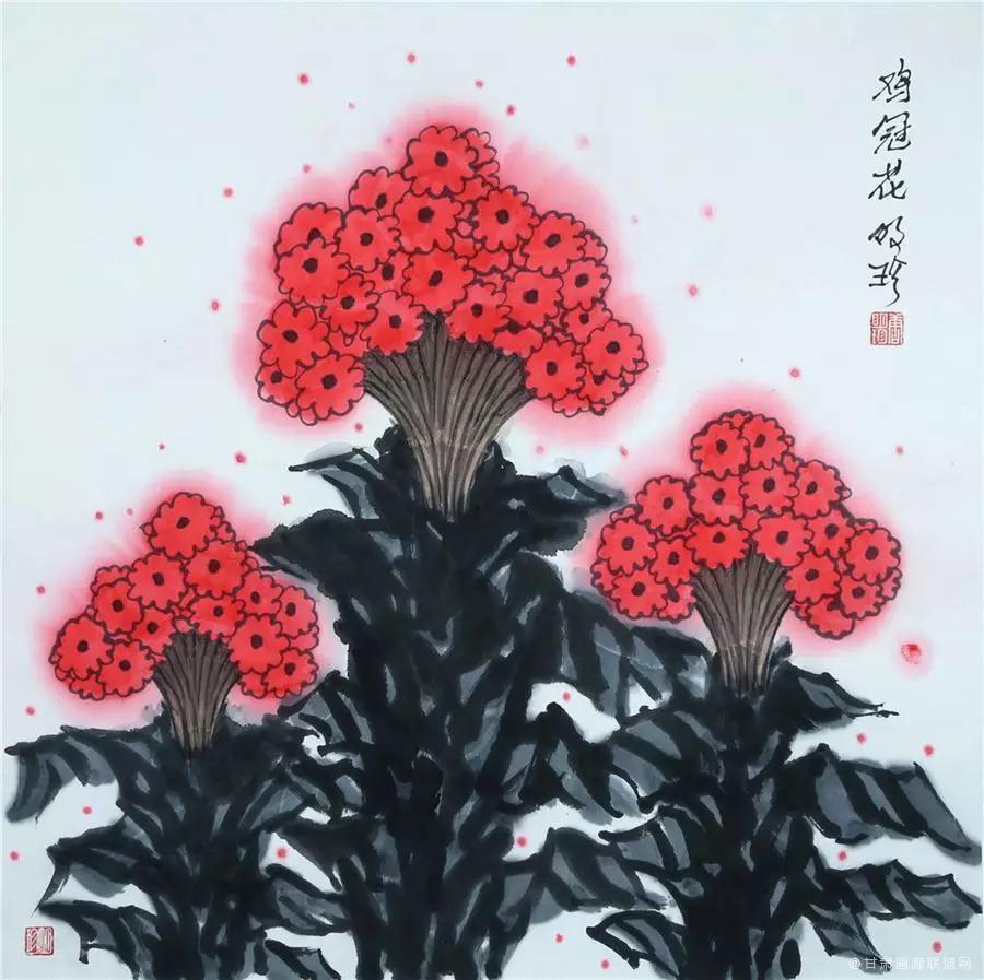 中国画《鸡冠花》