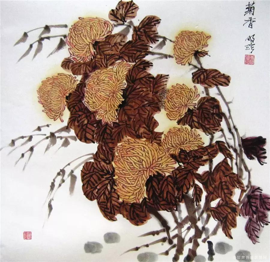 中国画《菊香》68×68cm