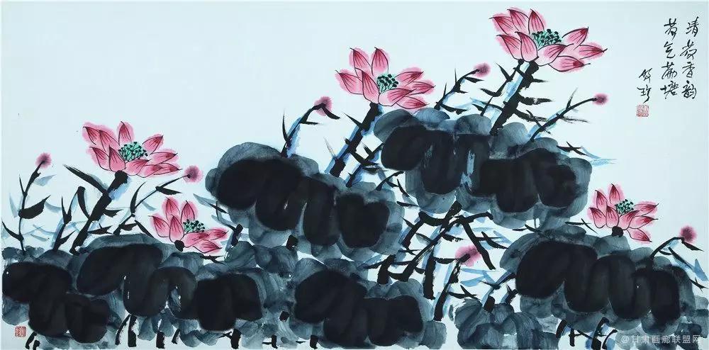 中国画《清荷香韵、荷气满塘》