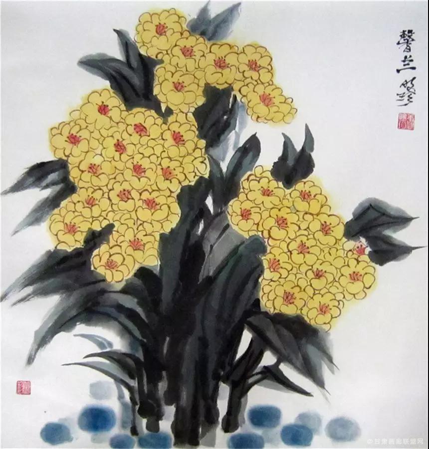 中国画《馨兰》68×68cm