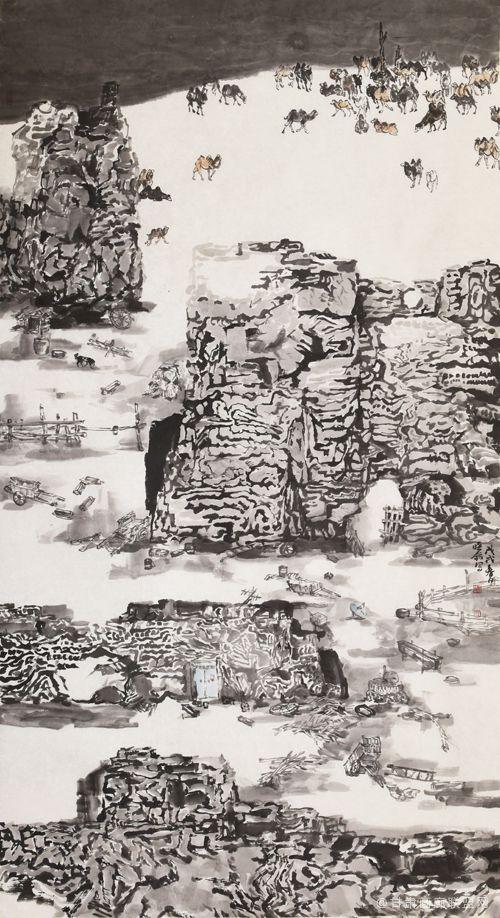 《丝路驼城系列1》-96x180cm--2018年创