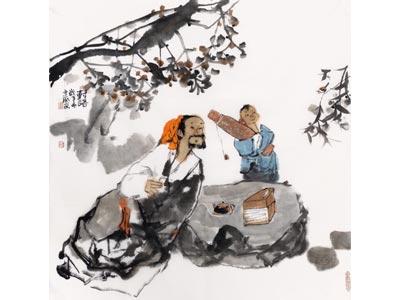 刘建国人物画作品《对语》