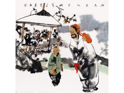 刘建国人物画作品《酒未至心已醉》