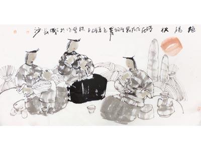 刘铁臂人物画作品《艳阳秋》