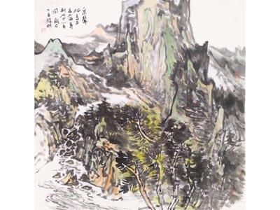 张耀明山水画作品《泉声》