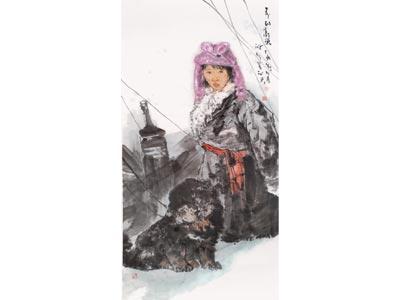 杨群峰人物画作品《春到高原》