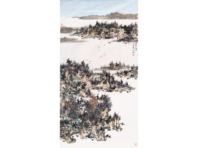骆旭放山水画作品《江山千里》