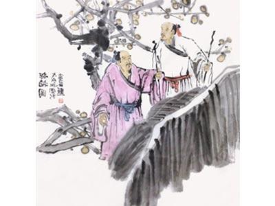 赵开新人物画作品《探梅图》
