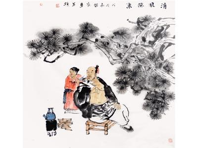 赵开新人物画作品《清风徐来》