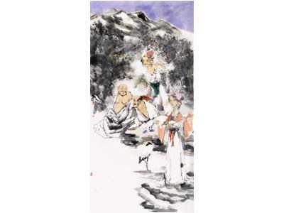 苏童人物画作品《山中有清福》
