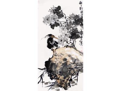 牧青花鸟画作品《秋韵》