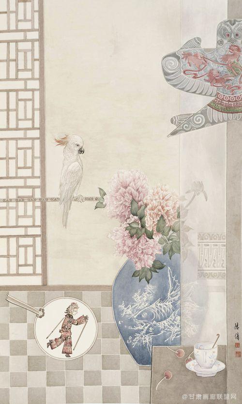 靛瓷藏花之闲堂系列三138cmx68cm
